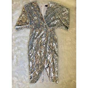 {CLUB L} ASOS Silver Sequin Wrap Dress Cocktail